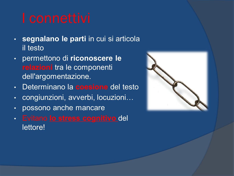 I connettivi segnalano le parti in cui si articola il testo