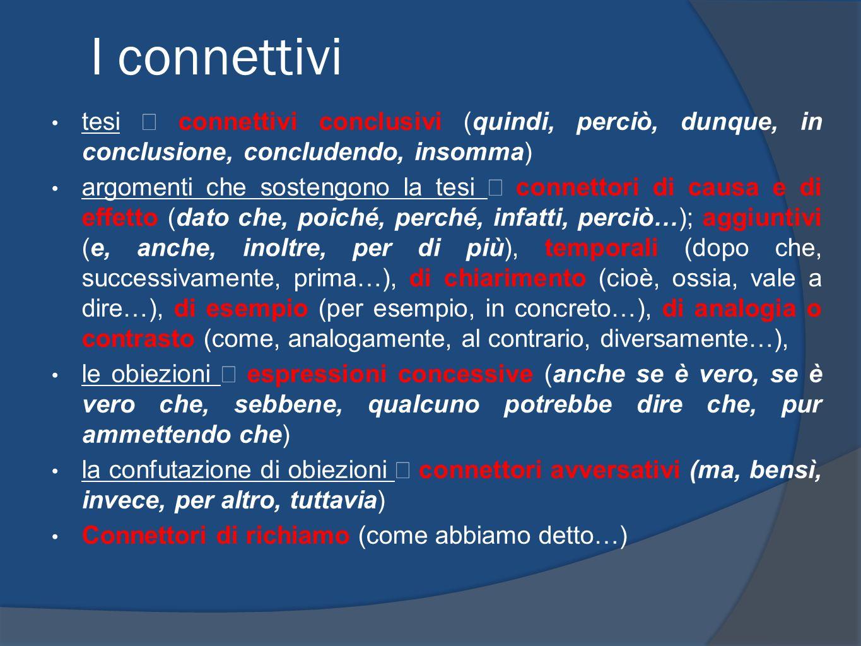 I connettivi tesi ⇒ connettivi conclusivi (quindi, perciò, dunque, in conclusione, concludendo, insomma)