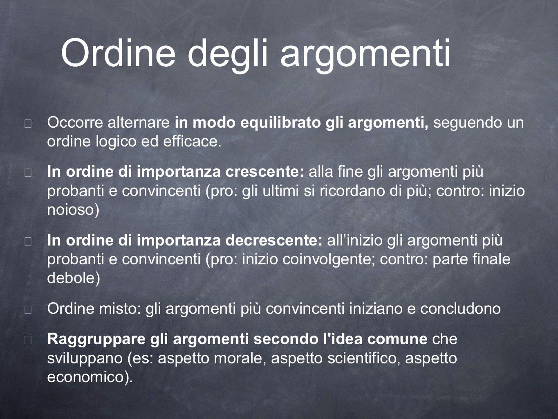 Ordine degli argomenti