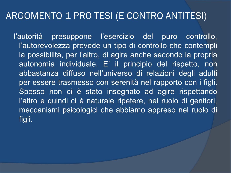 ARGOMENTO 1 PRO TESI (E CONTRO ANTITESI)