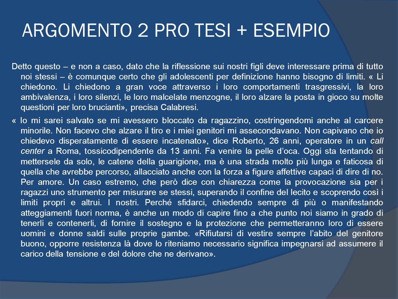ARGOMENTO 2 PRO TESI + ESEMPIO