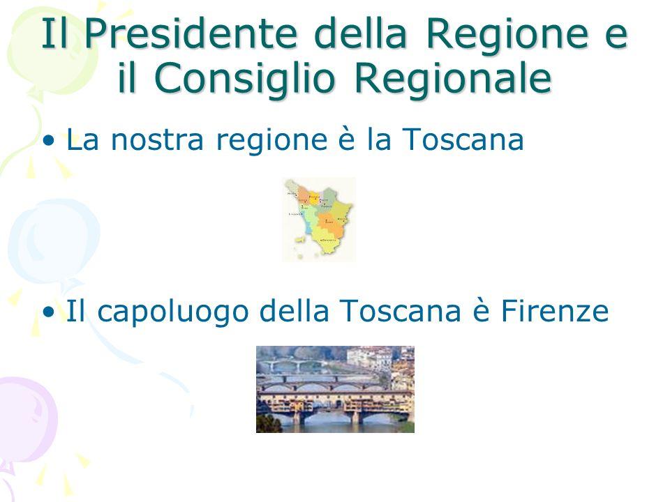 Il Presidente della Regione e il Consiglio Regionale
