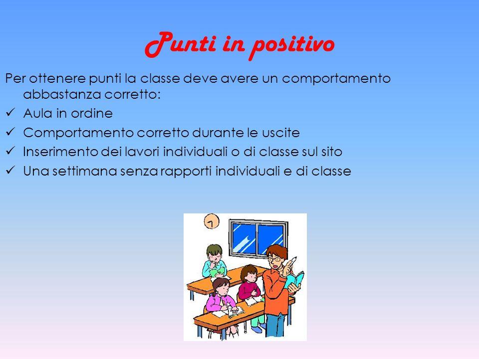Punti in positivo Per ottenere punti la classe deve avere un comportamento abbastanza corretto: Aula in ordine.