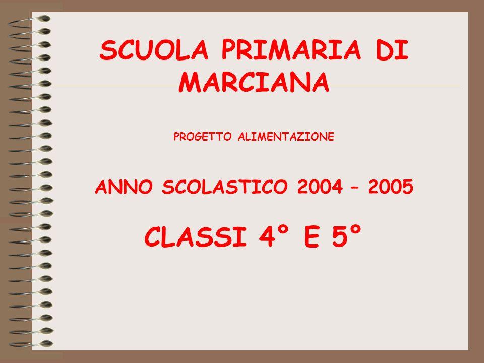 SCUOLA PRIMARIA DI MARCIANA PROGETTO ALIMENTAZIONE ANNO SCOLASTICO 2004 – 2005 CLASSI 4° E 5°