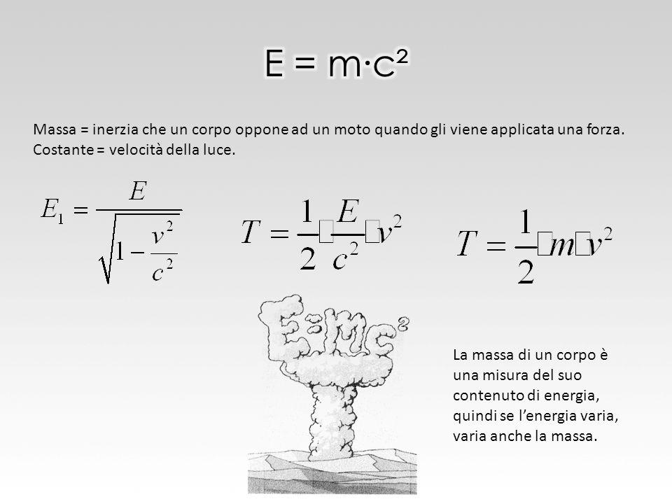 E = m∙c² Massa = inerzia che un corpo oppone ad un moto quando gli viene applicata una forza. Costante = velocità della luce.