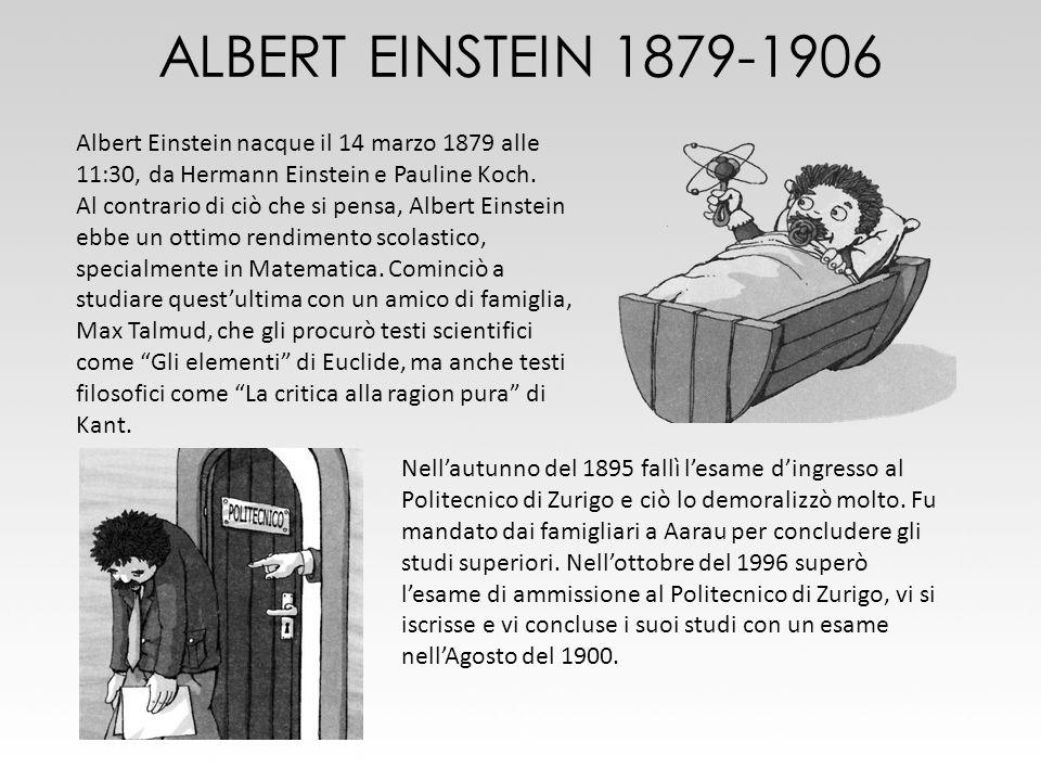 ALBERT EINSTEIN 1879-1906Albert Einstein nacque il 14 marzo 1879 alle 11:30, da Hermann Einstein e Pauline Koch.