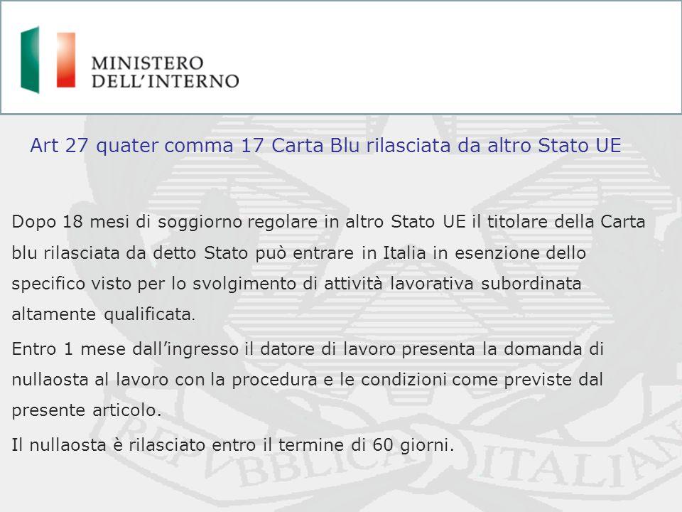 Art 27 quater comma 17 Carta Blu rilasciata da altro Stato UE