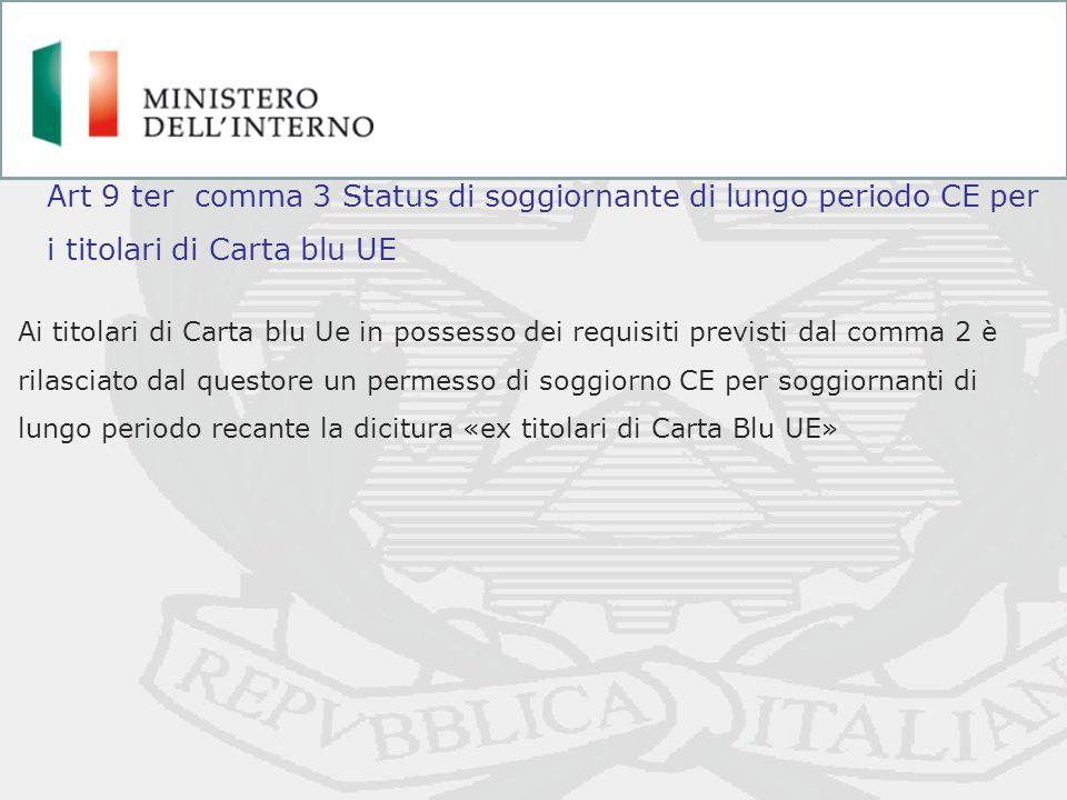 Art 9 ter comma 3 Status di soggiornante di lungo periodo CE per i titolari di Carta blu UE