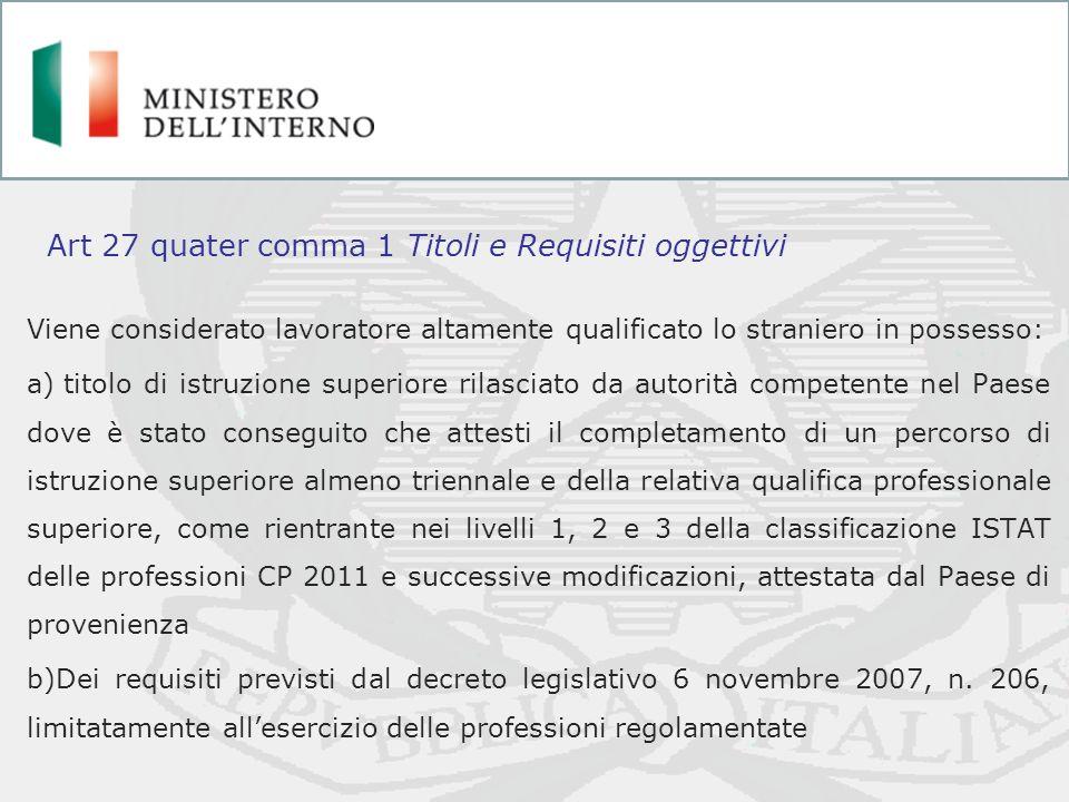 Art 27 quater comma 1 Titoli e Requisiti oggettivi