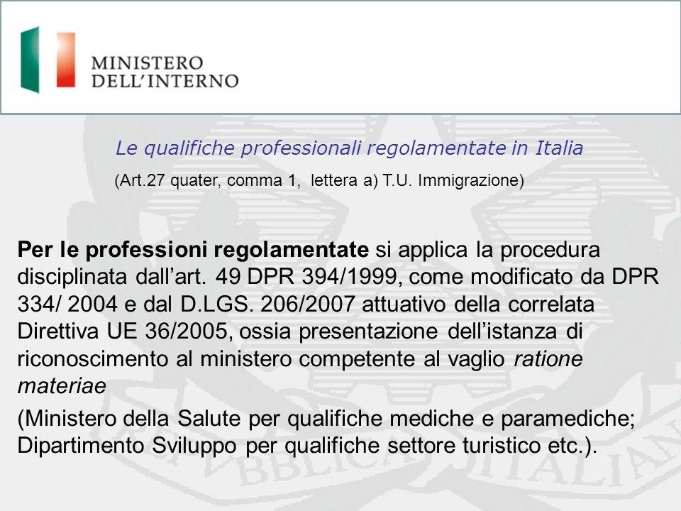 Le qualifiche professionali regolamentate in Italia