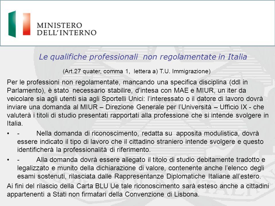 Le qualifiche professionali non regolamentate in Italia