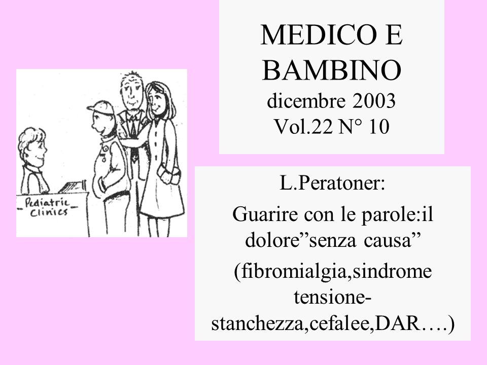 MEDICO E BAMBINO dicembre 2003 Vol.22 N° 10