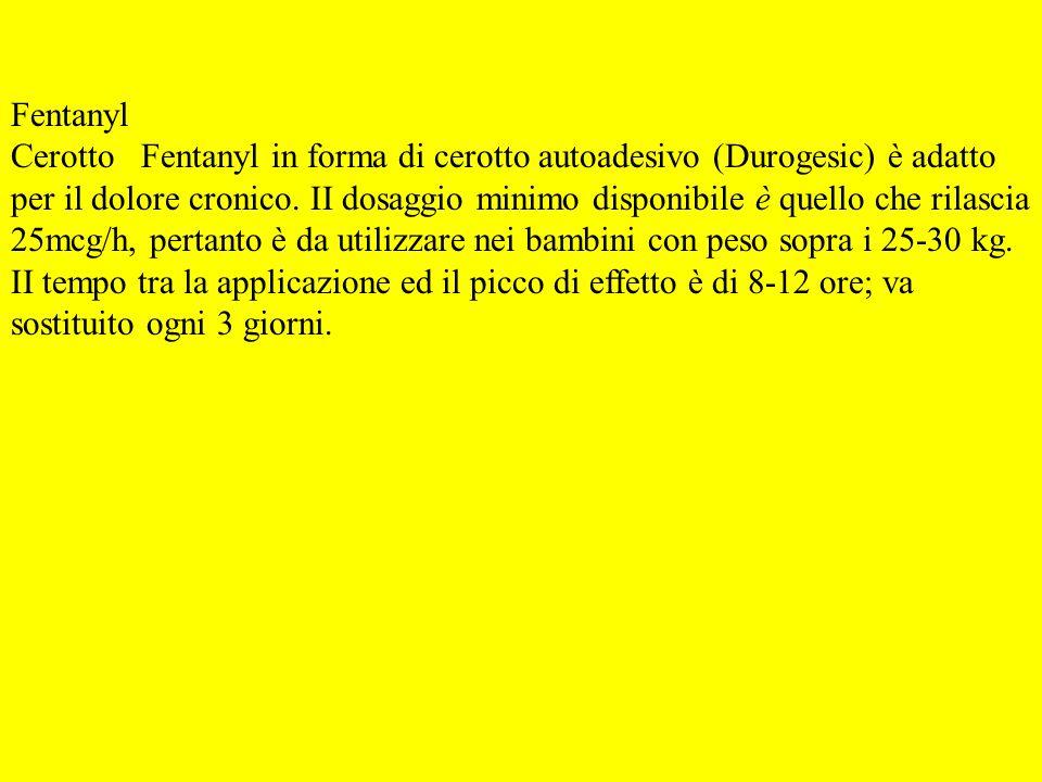 Fentanyl Cerotto Fentanyl in forma di cerotto autoadesivo (Durogesic) è adatto.