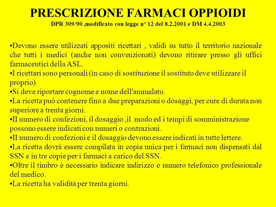 PRESCRIZIONE FARMACI OPPIOIDI DPR 309/90 ,modificato con legge n° 12 del 8.2.2001 e DM 4.4.2003