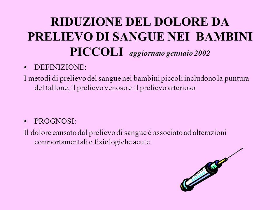 RIDUZIONE DEL DOLORE DA PRELIEVO DI SANGUE NEI BAMBINI PICCOLI aggiornato gennaio 2002