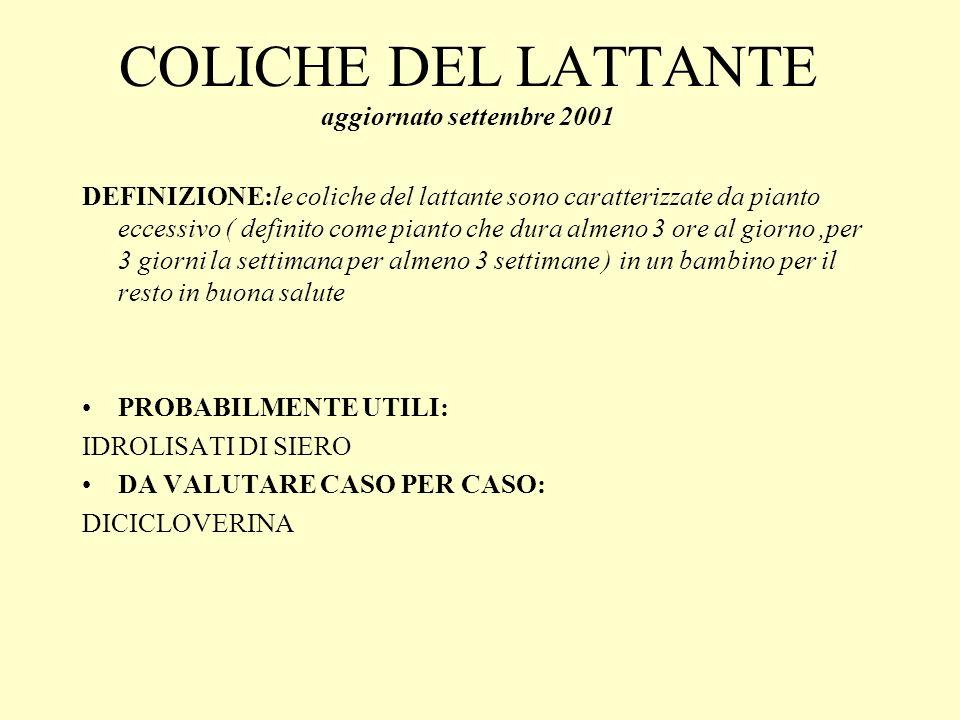 COLICHE DEL LATTANTE aggiornato settembre 2001