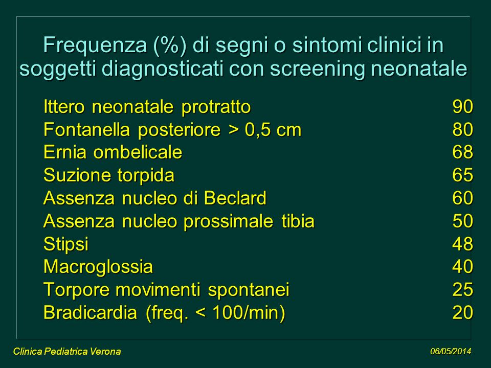 Frequenza (%) di segni o sintomi clinici in soggetti diagnosticati con screening neonatale