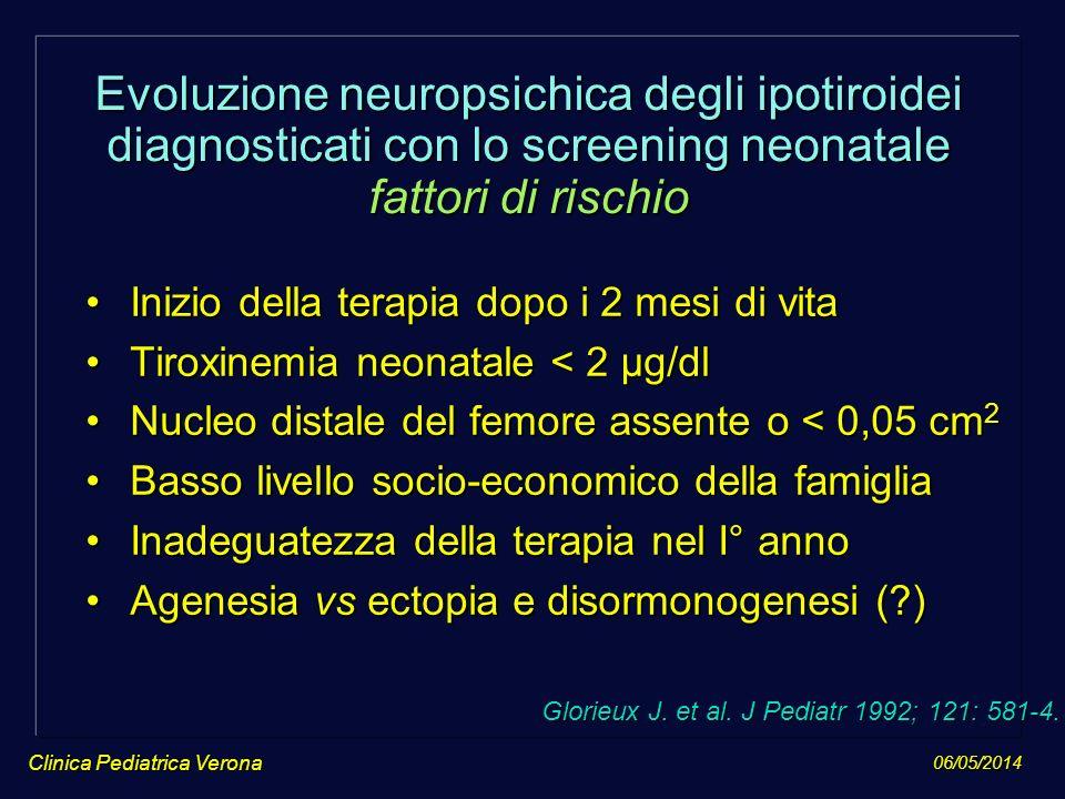 Evoluzione neuropsichica degli ipotiroidei diagnosticati con lo screening neonatale fattori di rischio