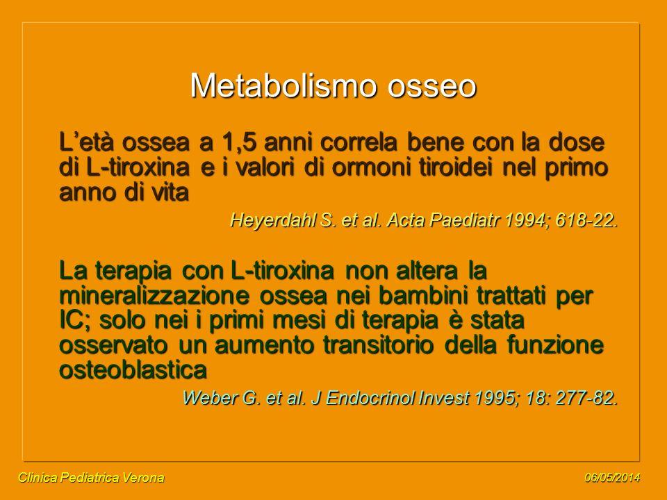 Metabolismo osseo L'età ossea a 1,5 anni correla bene con la dose di L-tiroxina e i valori di ormoni tiroidei nel primo anno di vita.