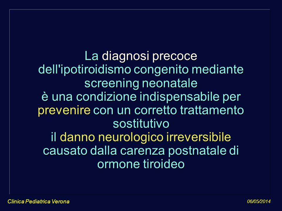 La diagnosi precoce dell ipotiroidismo congenito mediante screening neonatale è una condizione indispensabile per prevenire con un corretto trattamento sostitutivo il danno neurologico irreversibile causato dalla carenza postnatale di ormone tiroideo