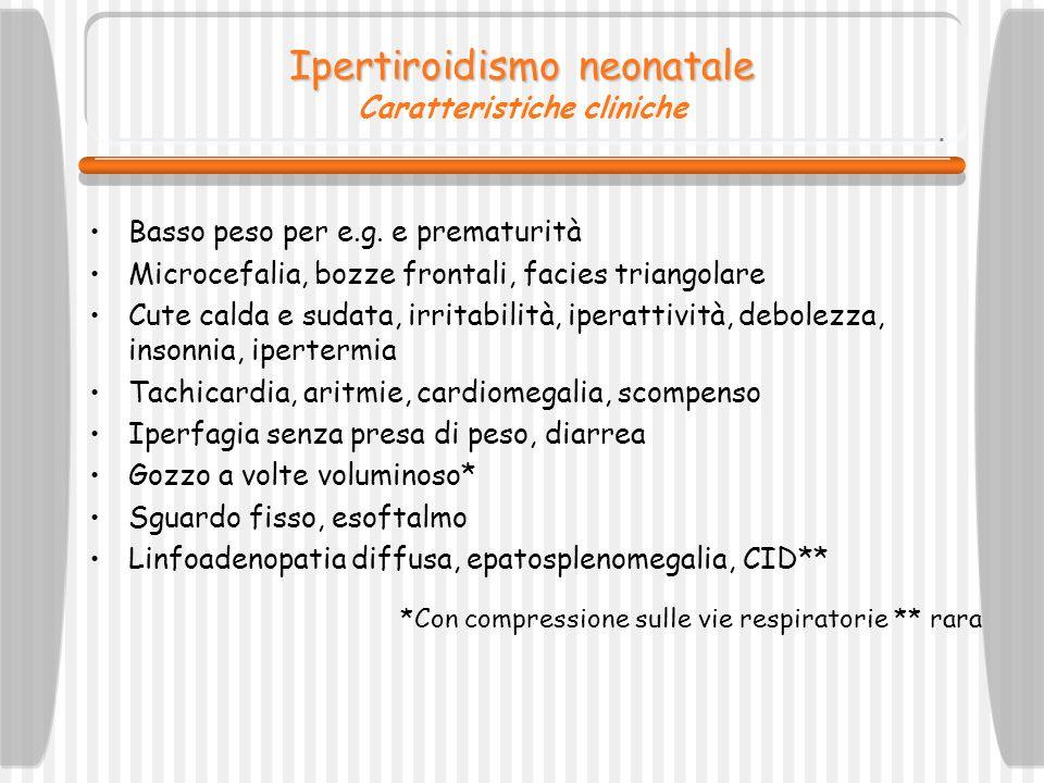 Ipertiroidismo neonatale Caratteristiche cliniche