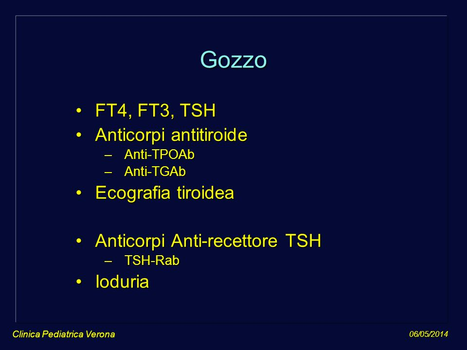Gozzo FT4, FT3, TSH Anticorpi antitiroide Ecografia tiroidea