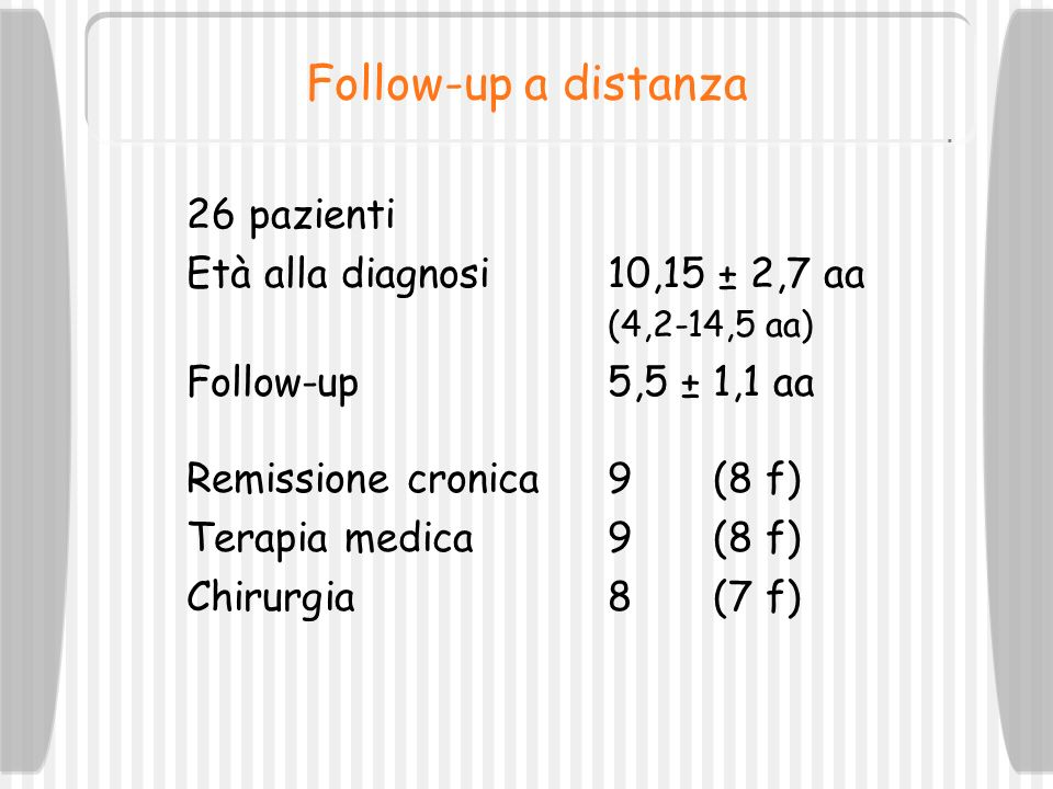 Follow-up a distanza 26 pazienti