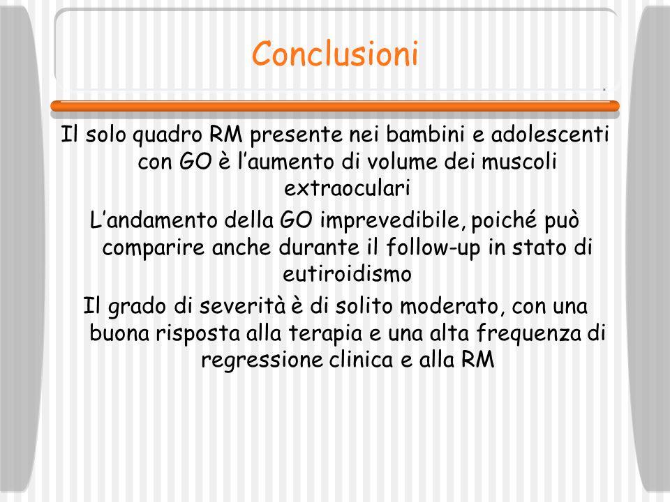 Conclusioni Il solo quadro RM presente nei bambini e adolescenti con GO è l'aumento di volume dei muscoli extraoculari.
