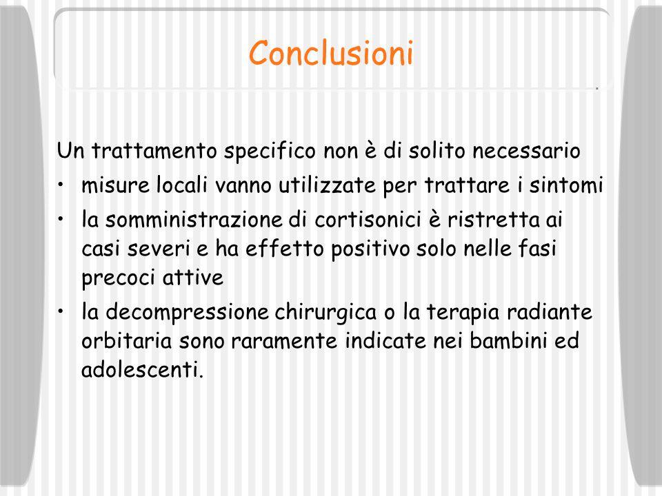 Conclusioni Un trattamento specifico non è di solito necessario