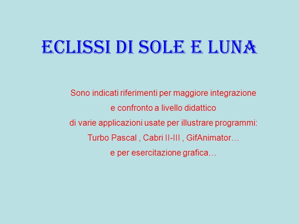 Eclissi di sole e luna Sono indicati riferimenti per maggiore integrazione. e confronto a livello didattico.