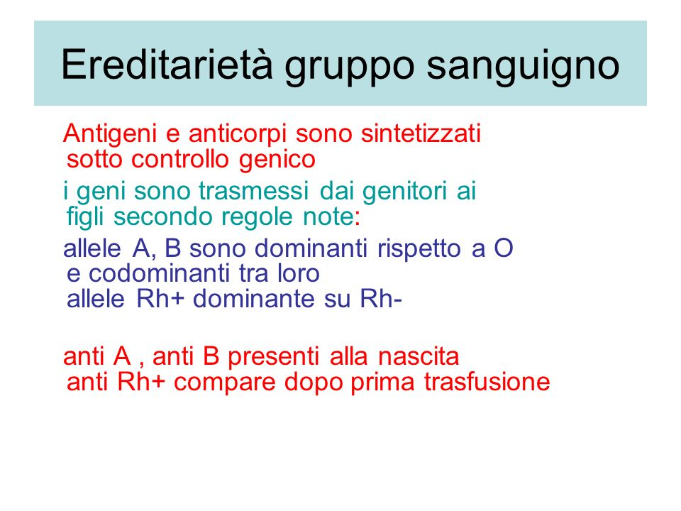 Ereditarietà gruppo sanguigno