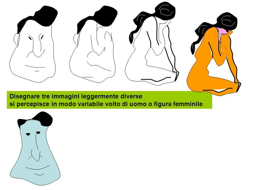 Disegnare tre immagini leggermente diverse si percepisce in modo variabile volto di uomo o figura femminile