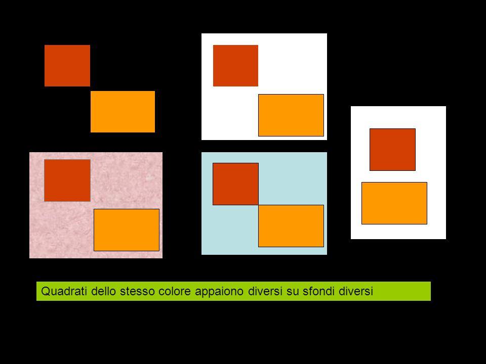 Quadrati dello stesso colore appaiono diversi su sfondi diversi