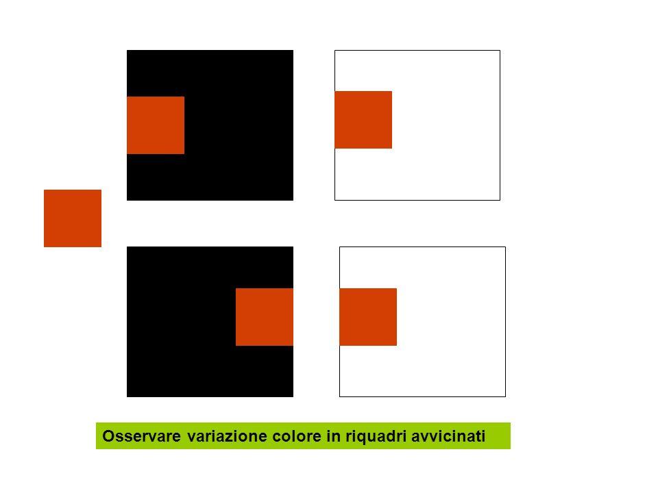 Osservare variazione colore in riquadri avvicinati