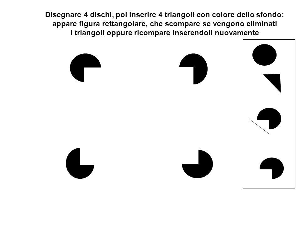 Disegnare 4 dischi, poi inserire 4 triangoli con colore dello sfondo: appare figura rettangolare, che scompare se vengono eliminati i triangoli oppure ricompare inserendoli nuovamente