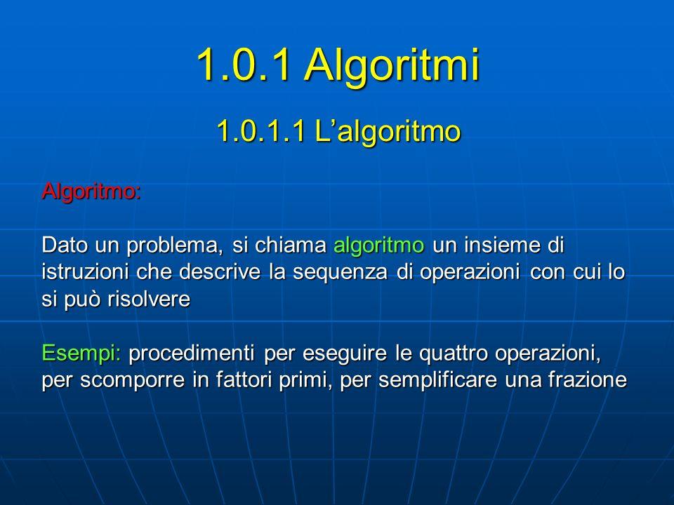 1.0.1 Algoritmi 1.0.1.1 L'algoritmo Algoritmo: