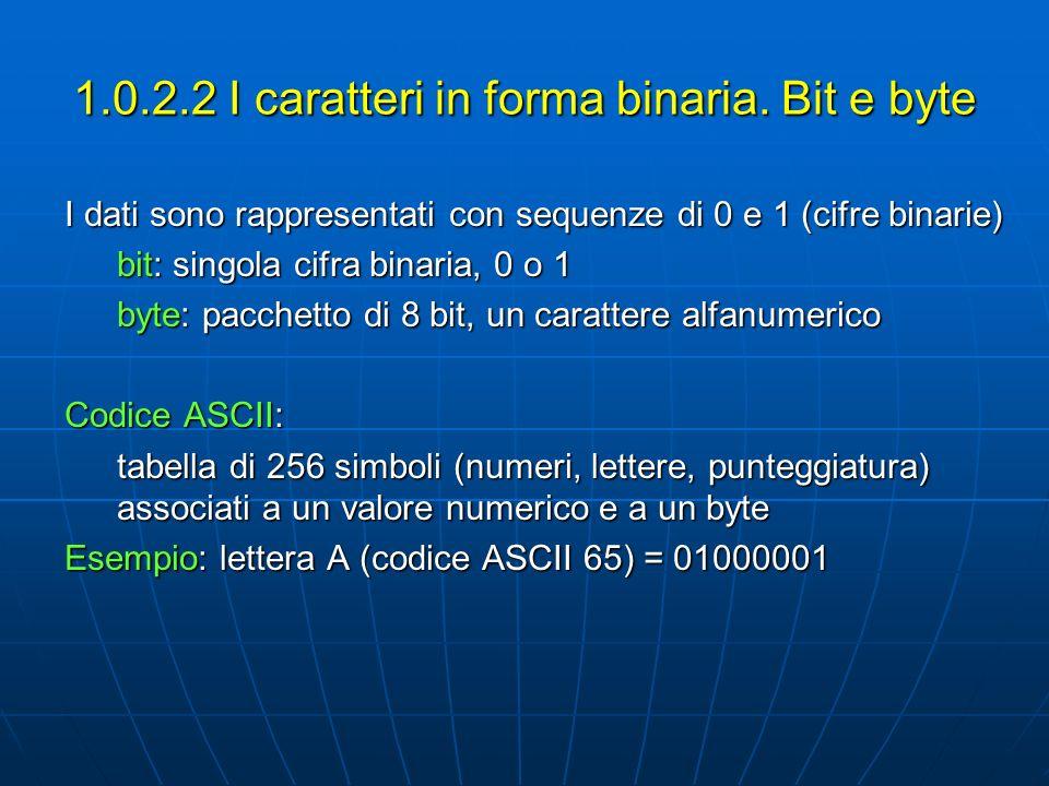 1.0.2.2 I caratteri in forma binaria. Bit e byte