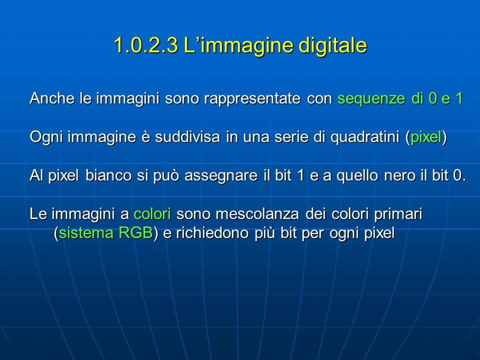 1.0.2.3 L'immagine digitale Anche le immagini sono rappresentate con sequenze di 0 e 1. Ogni immagine è suddivisa in una serie di quadratini (pixel)