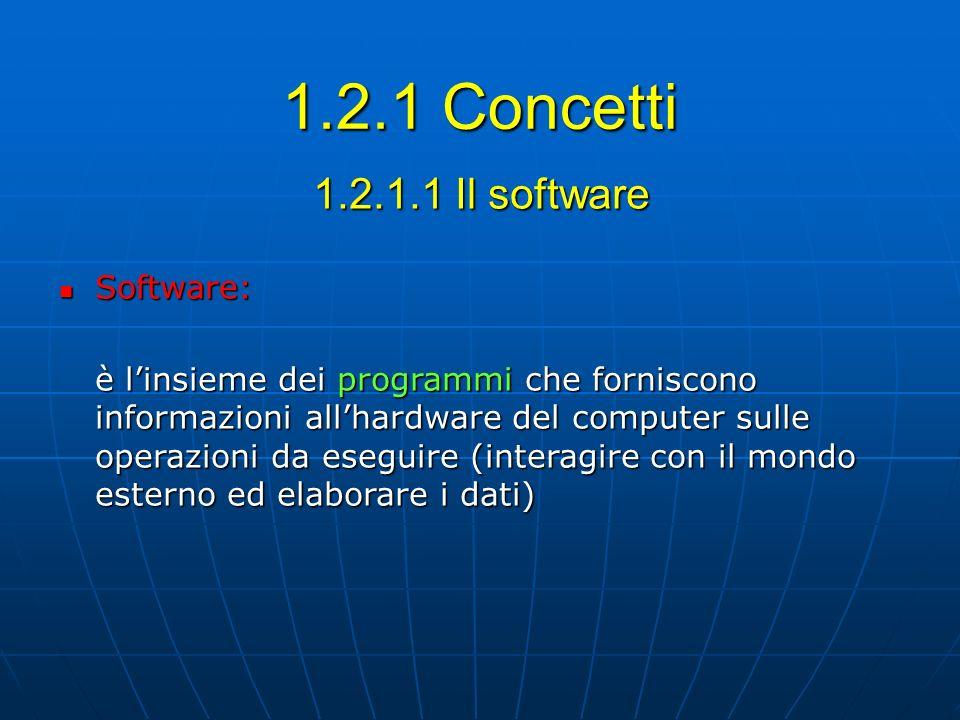 1.2.1 Concetti 1.2.1.1 Il software Software: