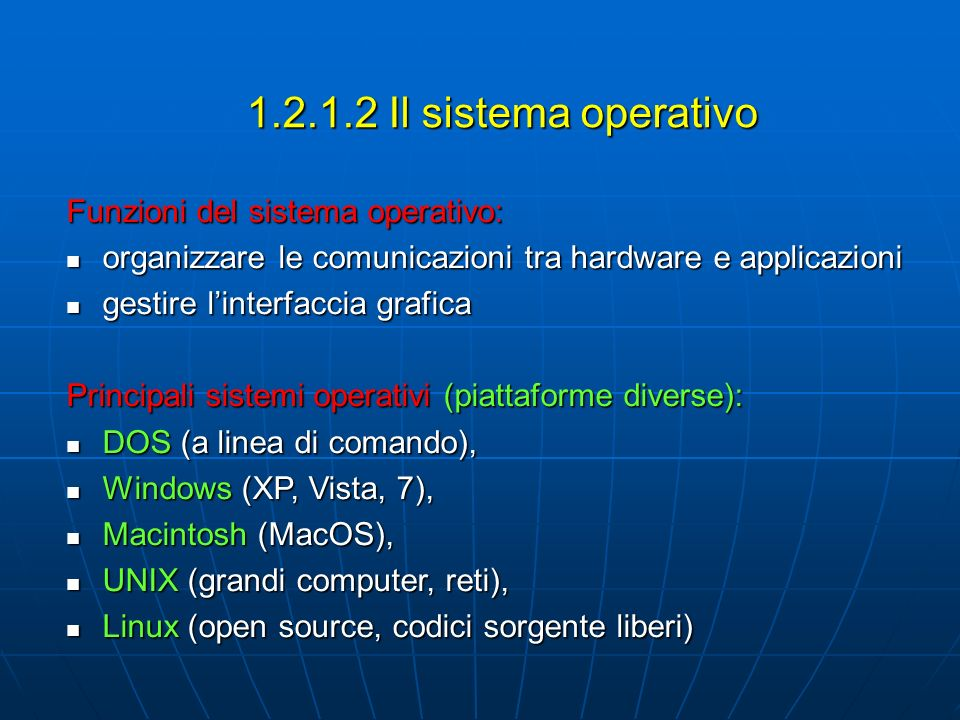 1.2.1.2 Il sistema operativo Funzioni del sistema operativo: