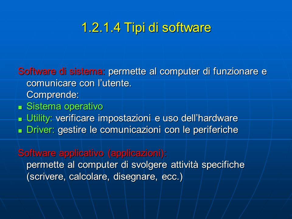 1.2.1.4 Tipi di software Software di sistema: permette al computer di funzionare e comunicare con l'utente.