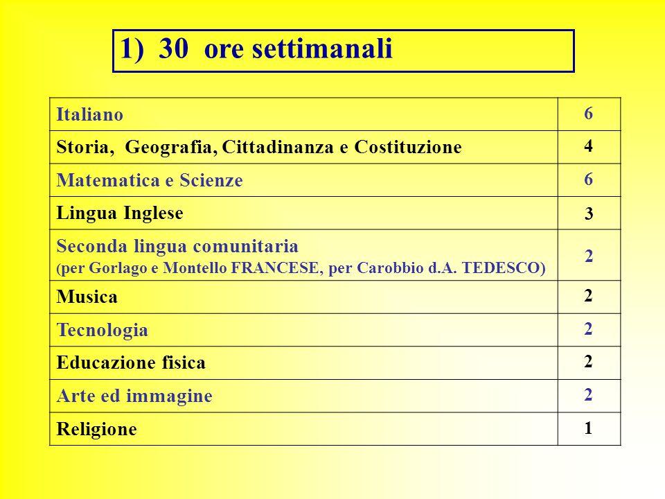 30 ore settimanali Italiano