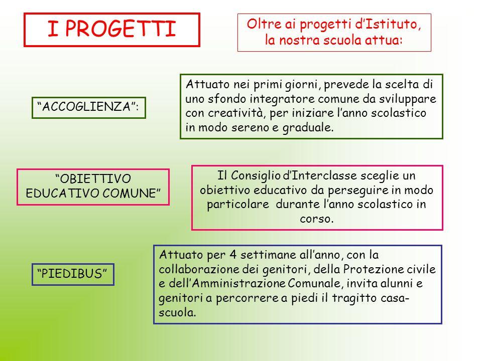 I PROGETTI Oltre ai progetti d'Istituto, la nostra scuola attua: