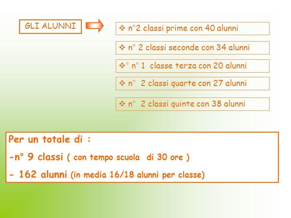 -n° 9 classi ( con tempo scuola di 30 ore )