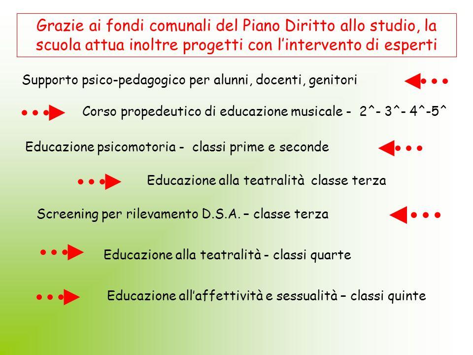 Grazie ai fondi comunali del Piano Diritto allo studio, la scuola attua inoltre progetti con l'intervento di esperti