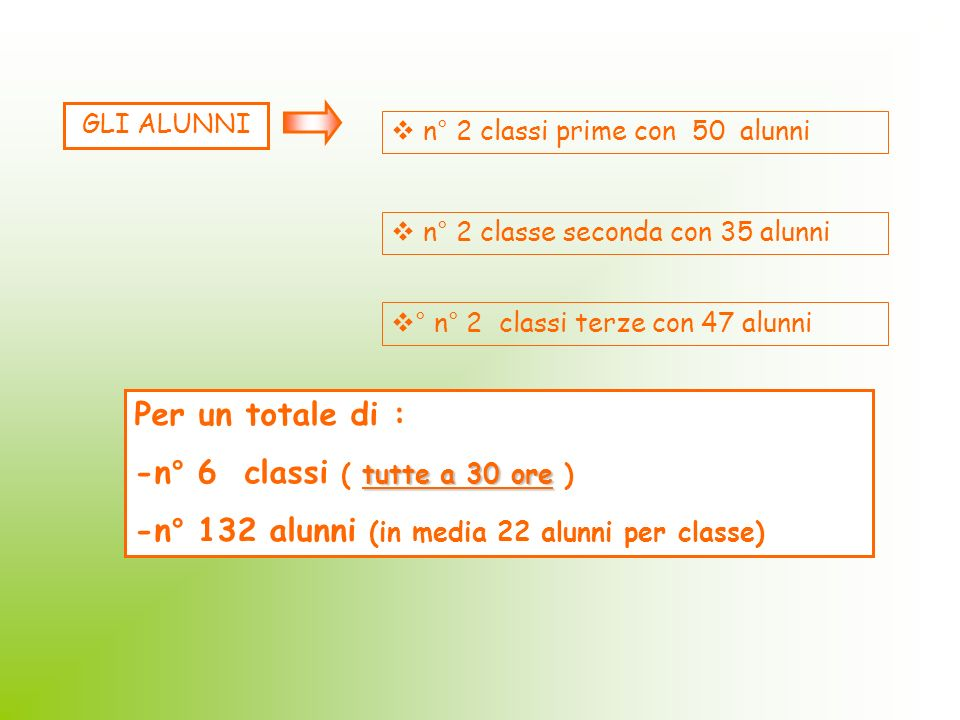-n° 6 classi ( tutte a 30 ore )