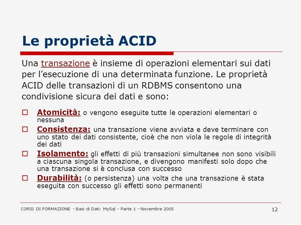 Le proprietà ACID Una transazione è insieme di operazioni elementari sui dati. per l'esecuzione di una determinata funzione. Le proprietà.