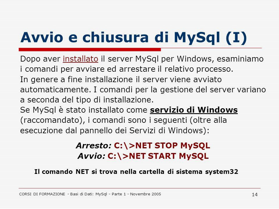 Avvio e chiusura di MySql (I)