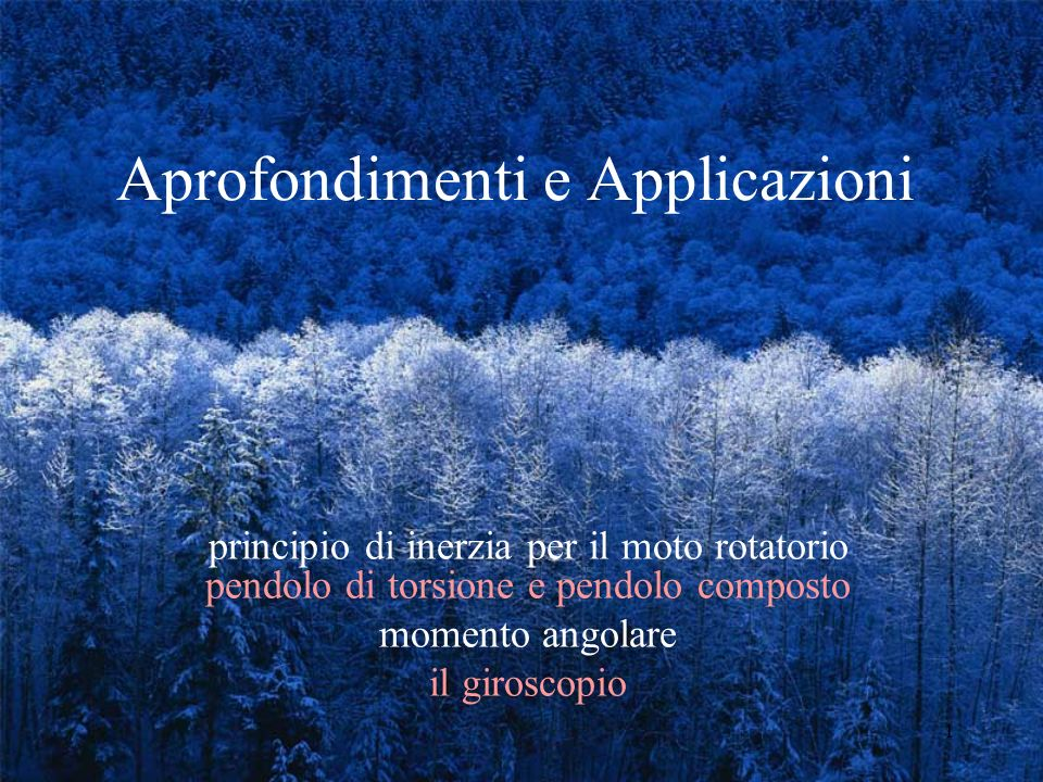Aprofondimenti e Applicazioni