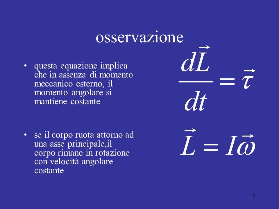 osservazione questa equazione implica che in assenza di momento meccanico esterno, il momento angolare si mantiene costante.